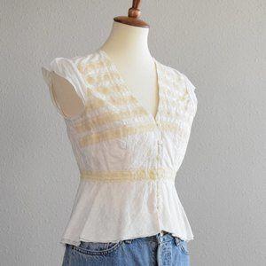Embroidered prairie v-neck peplum top cream Small